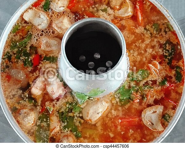 spicy seafood soup with chili pase - csp44457606