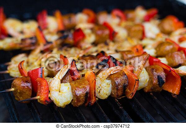 spicy shrimp and sausage skewer - csp37974712