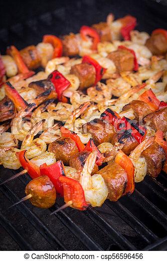 spicy shrimp and sausage skewer - csp56596456