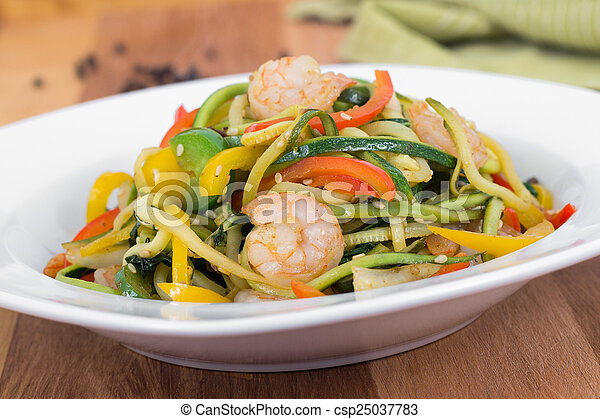 spicy shrimp saut? on vegetable zuc - csp25037783