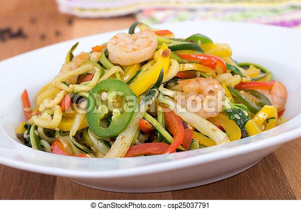 spicy shrimp saut? on vegetable zuc - csp25037791