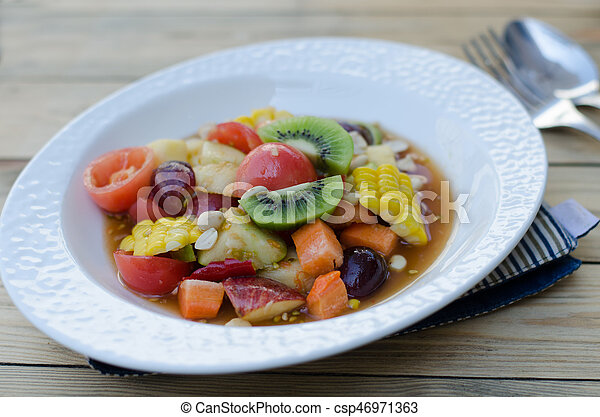 Spicy Thai Mixed Fruit Salad - csp46971363