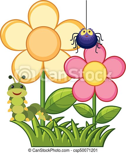spider and caterpillar in flower garden illustration vector clipart rh canstockphoto com flower garden clipart background flower garden clipart images
