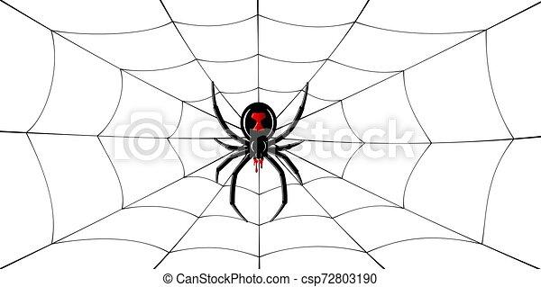 Spider Black Widow Cobweb Red Black Spider 3d Spiderweb Isolated White Background Scary Halloween Decoration Icon Web