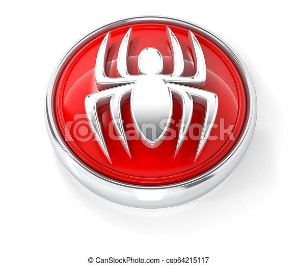 Spider icon on glossy red round button - csp64215117