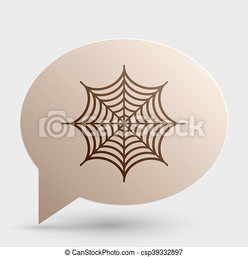 Spider on web illustration. Brown gradient icon on bubble with shadow. - csp39332897