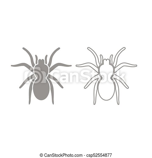 Spider Or Tarantula Icon Grey Set
