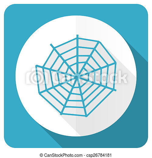 spider web blue flat icon - csp26784181