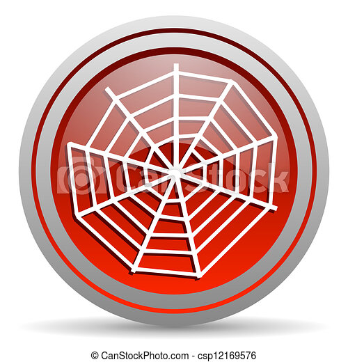 spider web red glossy icon on white background - csp12169576