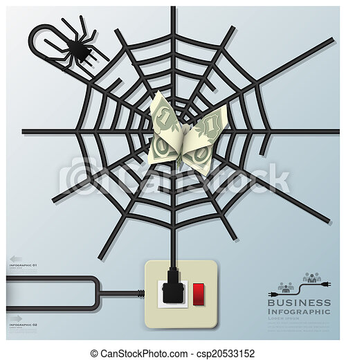 Spider Web With Money Butterfly Electric Wire Line Business Infographic