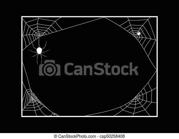 Spiders Web Frame on Black Background - csp50258408