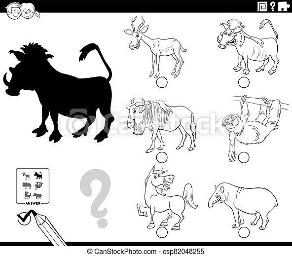 spiel, karikatur, tier- farbe, seite, schatten, buch - csp82048255