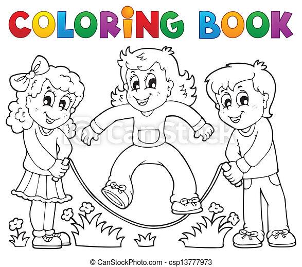 Spielen, färbung, kinder, 1, thema, buch. Spielen, färbung ...