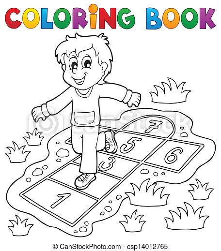 Spielen, färbung, kinder, thema, buch, 4. Spielen, färbung ...