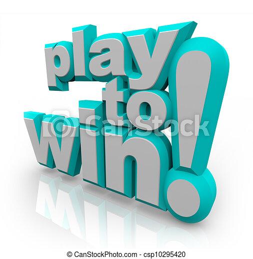 Spielen Sie, um 3D-Worts zu gewinnen, entschlossene positive Einstellung - csp10295420