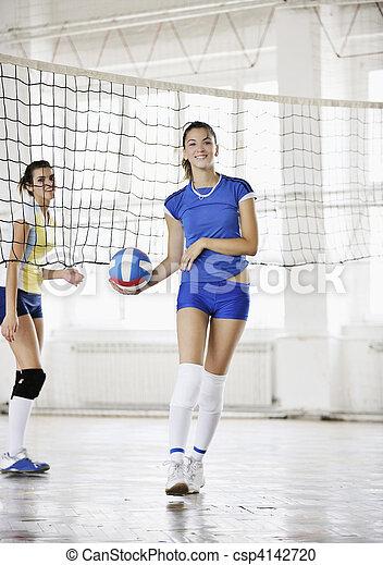 spielen von volleyball, mädels, innen, spiel - csp4142720