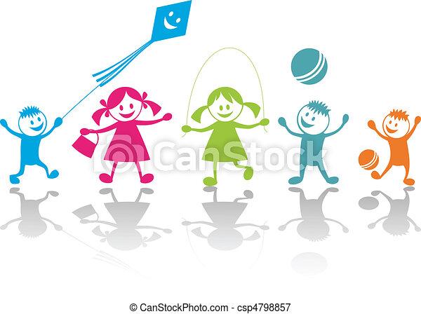 spielende , glücklich, kinder - csp4798857