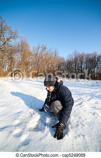 spielende , schnee, kind, glücklich - csp5249089