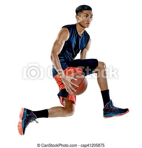 Basketballspieler-Mann Isoliert - csp41205875