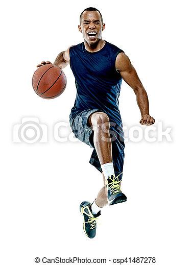 Basketballspieler-Mann Isoliert - csp41487278