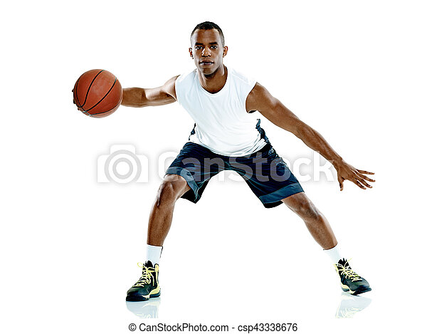 Basketballspieler-Mann Isoliert - csp43338676