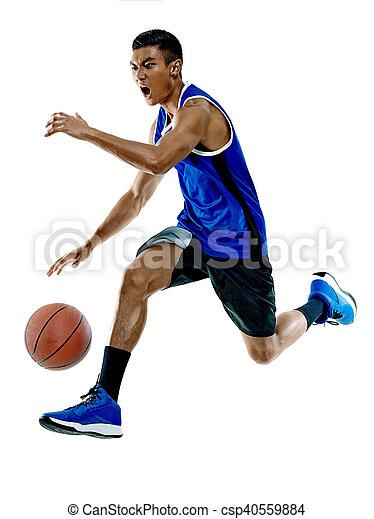 spieler, basketball, mann, freigestellt - csp40559884