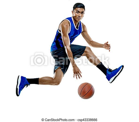 Basketballspieler-Mann Isoliert - csp43338666