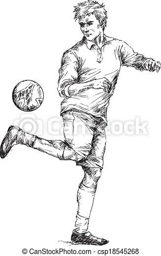 Spieler Fussball Hand Gezeichnet Hand Spieler Fussball