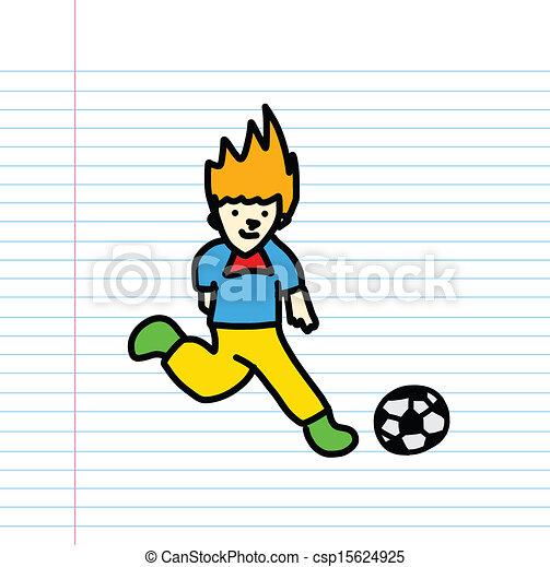 Spieler Fussball Hand Gezeichnet Skizze Fussball Hand