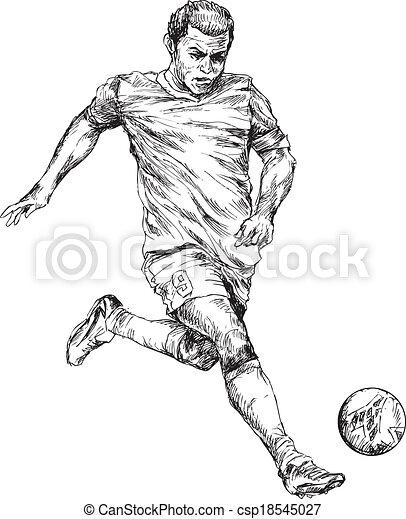 Hand Gezeichneter Fussballspieler Handgezeichneter
