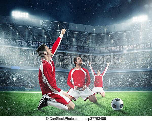 Spieler Fussball Jubel Feld Fussball Exults Stadion