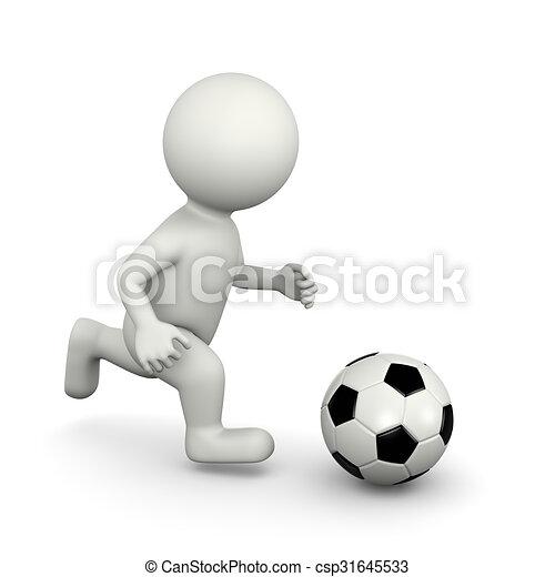 Spieler Fussball Zeichen 3d Kugel Zeichen Ledig