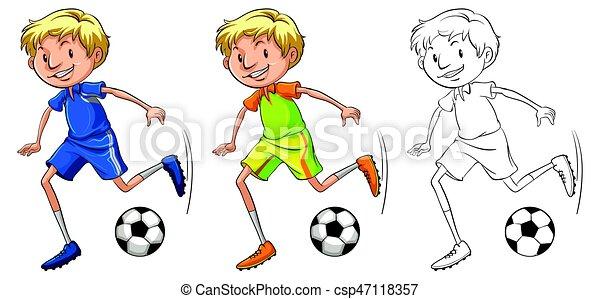 Spieler Fussball Zeichen Zeichnen Spieler Fussball