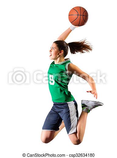 spieler, m�dchen, basketball, junger - csp32634180
