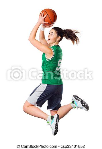 spieler, m�dchen, basketball, junger - csp33401852