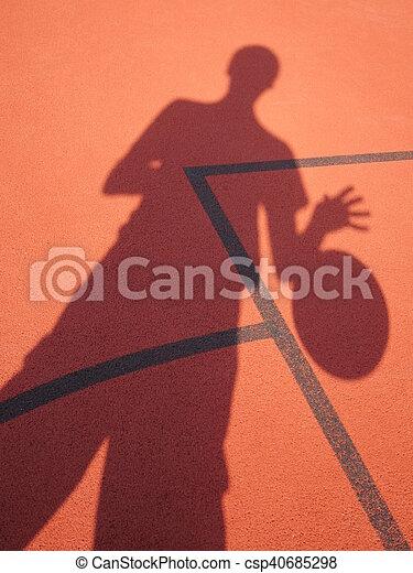 spieler, schatten, basketball - csp40685298