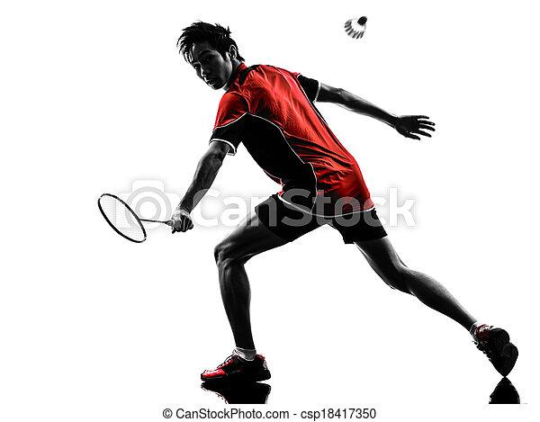 spieler, silhouette, badminton, mann, junger - csp18417350