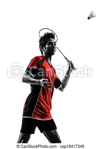 spieler, silhouette, badminton, mann, junger - csp18417349