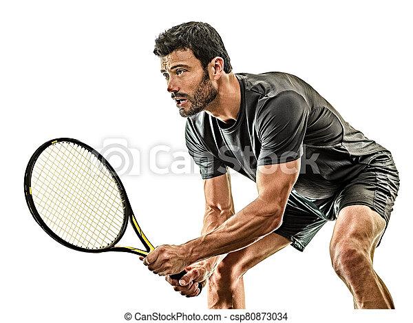 spieler, tennis, hintergrund, freigestellt, mann, weißes, fällig - csp80873034