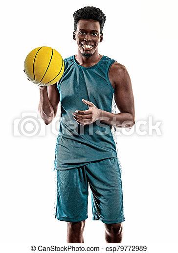 spieler, weißes, afrikanischer mann, junger, hintergrund, freigestellt, basketball - csp79772989
