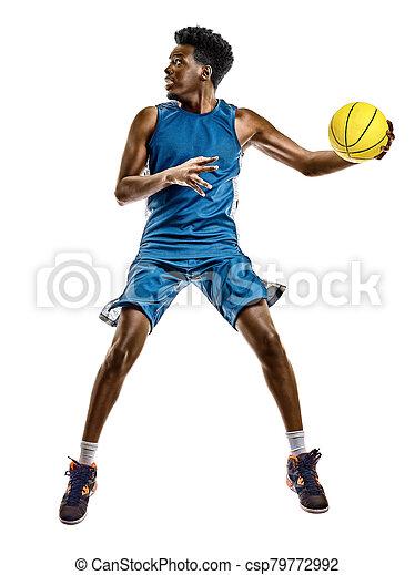 spieler, weißes, afrikanischer mann, junger, hintergrund, freigestellt, basketball - csp79772992