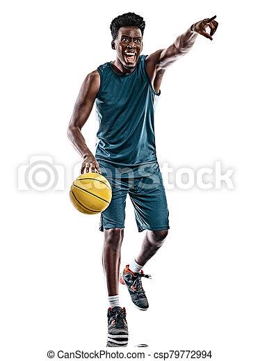 spieler, weißes, afrikanischer mann, junger, hintergrund, freigestellt, basketball - csp79772994