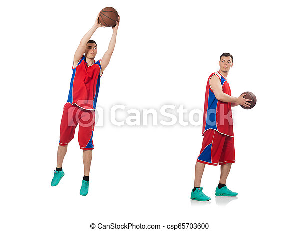 Junger Basketballspieler, isoliert auf weiß - csp65703600