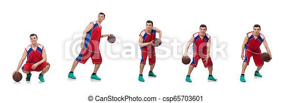 spieler, weißes, basketball, junger, freigestellt - csp65703601