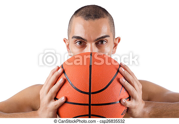 spieler, weißes, basketball, junger, freigestellt - csp26835532