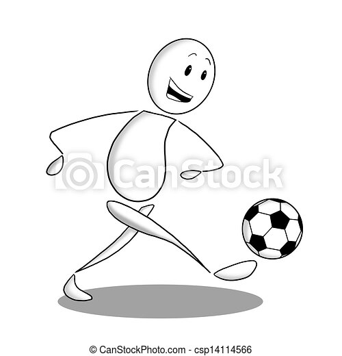 Ein Fussballspieler In Schwarzweiss Eine Skizze In