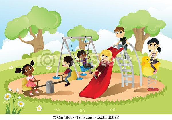 Kinder auf dem Spielplatz - csp6566672