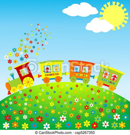 spielzeugeisenbahn, kinder, gefärbt, glücklich - csp5267350