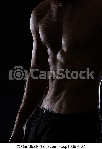 spierballen, abdominaal, gespierd, closeup, zwarte man, torso - csp10897867