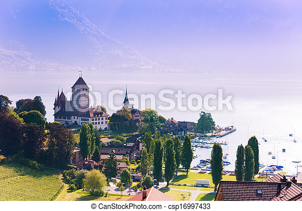 Spiez castle on Thun lake - csp16997433